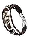 leather Charm BraceletsThree Layer Buckle Hamsa Hand Shape PU Leather Men's Bracelet Christmas Gifts