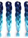 Ms African  Fiber Color Big Child Jumbo Braid Hair High Temperature Gradient Blue Silk Black 1PCS