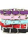 Dog Collar Adjustable / Retractable Rhinestone PU Leather Black Purple Red Blue Pink