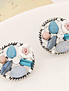 Stud Earrings Gemstone Fashion Vintage Flower Rainbow Jewelry Party Daily Casual 1 pair
