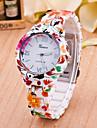 Женские Модные часы Кварцевый Plastic Группа Цветы Разноцветный