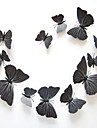 12 PCS Black Butterfly Stickers Animals Decals 3D Wall Stickers Plane Wall Stickers,Plastic 12pcs