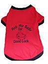 Собака Футболка Одежда для собак Буквы и цифры Черный/Красный Хлопок Костюм Для домашних животных
