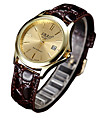 Couple\'s Fashion Watch Quartz Casual Watch PU Band Brown