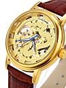 CAGARNY Мужской Часы со скелетом Модные часы Наручные часы Механические часы С гравировкой С автоподзаводом Натуральная кожа ГруппаВинтаж