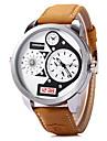 Men\'s Military Fashion Dual Time Display Khaki Leather Strap Quartz Wrist Watch