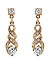 Boucles d\'oreille goutte Zircon Plaque or Imitation de diamant Boheme Elegant Forme Geometrique Or Bijoux Soiree Quotidien Decontracte1
