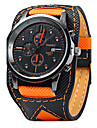 Homme Montre Bracelet Quartz Calendrier / Cuir Bande Decontracte Cool Noir Orange