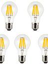 5pcs 800 lm E26/E27 LED-glødetrådspærer A60(A19) 8 leds COB Dekorativ Varm hvid Kold hvid AC 85-265V