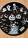 Halloween Design Round Stainless Steel Nail Plates Nail Art Image