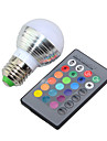 E14 E26/E27 LED Globe Bulbs G45 1 High Power LED 250lm RGB RGB K Dimmable Remote-Controlled Decorative
