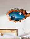 mur de la peau materiau decoratif 3d stickers muraux lac nuit eau pvc
