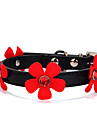 Chat / Chien Colliers Ajustable/Reglable Solide / Fleur / Strass Rouge / Noir / Incanardin / Rouge Rose Cuir PU