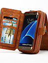 Case For Samsung Galaxy Samsung Galaxy S7 Edge Card Holder Wallet with Stand Flip Full Body Cases Solid Color Hard Genuine Leather for S7