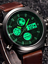 Hommes Montre de Sport Montre Militaire Montre Bracelet Quartz Numerique LCD Calendrier Cuir Bande retro Cool Pour tous les jours Luxe