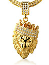 Men\'s Pendant Necklaces Rhinestone Crown Animal Shape Lion Gold Imitation Diamond 18K gold Alloy Rock Personalized Costume Jewelry Jewelry