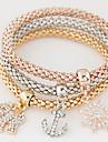 Women\'s Charm Bracelet Rhinestone Simulated Diamond Alloy Simple Style Fashion Rainbow Jewelry 1set