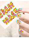 1 Autocollant d\'art de clou Autocollant de transfert d\'eau Fleur Dessin Anime Adorable Maquillage cosmetique Nail Art Design