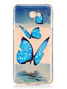 Coque Pour Samsung Galaxy J7 Prime J5 Prime Transparente Relief Motif Coque Arriere Papillon Flexible TPU pour J7 (2016) J7 Prime J5