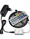 5M RGB Led Strip Light SMD 3528 non-waterproof Flexible Light 5m/roll diode tape 12V 3A Adapter44keys controller led kit