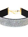 Women\'s Choker Necklaces Imitation Diamond Single Strand Circle Leather Rhinestone Basic European Costume Jewelry Jewelry For Daily Casual