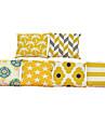6 pcs Linho Fronha Cobertura de Almofada, Solido Geometrica Textura Estilo Praia Apoiar Tradicional/Classico
