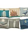 Set of 6 Marine creatures pattern  Linen Pillowcase Sofa Home Decor Cushion Cover