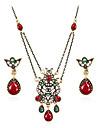 Set de Bijoux Vintage Boheme Bijoux de Luxe Pierres synthetiques Resine Strass Plaque or Imitation Diamant Alliage Bijoux 1 Collier 1
