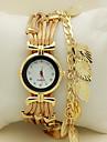 여성용 팔찌 시계 손목 시계 석영 라인석 모조 다이아몬드 가죽 밴드 나뭇잎 레드 그린 골드