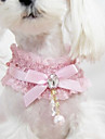 Cat Dog Collar Fashion Bowknot Lace Fabric Black Pink