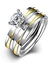 Γυναικεία Δίχρωμο δύο πέτρες Band Ring Δαχτυλίδι Δαχτυλίδι αρραβώνων Τιτάνιο Ατσάλι κυρίες μινιμαλιστικό στυλ Μοντέρνα Νυφικό Μοδάτο Δαχτυλίδι Κοσμήματα Ασημί Για
