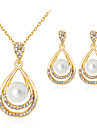 Women\'s Jewelry Set Classic Fashion Party Gift Daily Office & Career Imitation Pearl Rhinestone Gold Plated Alloy Drop 1 Necklace 1 Pair