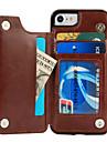 Pour iPhone X iPhone 8 Etuis coque Porte Carte Avec Support Coque Arriere Coque Couleur unie Dur Cuir PU pour Apple iPhone X iPhone 8