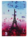 Coque Pour Apple iPad 4/3/2 iPad Air 2 iPad Air Porte Carte Avec Support Clapet Motif Smart Touch Coque Integrale Fleur Tour Eiffel Dur