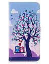 Кейс для Назначение Apple iPhone 7 Plus iPhone 7 Бумажник для карт Кошелек со стендом Флип С узором Чехол дерево Сова Твердый Кожа PU для