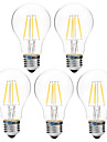 BRELONG® 5pcs 4W 300lm Ampoules a Filament LED A60(A19) 4 Perles LED COB Intensite Reglable Blanc Chaud Blanc 200-240V