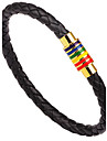 Men\'s Leather Bracelet Punk Hip-Hop Rock Costume Jewelry Fashion Vintage Leather Alloy Circle Round Geometric Jewelry For Party
