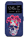 Case For Samsung Galaxy A5(2017) A3(2017) Skull Pattern Window Clamshell PU Leather Case with Stand and Card Slot