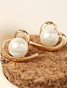 Women\'s Stud Earrings Imitation Pearl Fashion Costume Jewelry Alloy Heart Jewelry For Casual