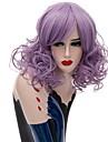 Perruque Synthetique Boucle Coupe Carre Violet Vert Femme Sans bonnet Perruque Naturelle Moyen Cheveux Synthetiques