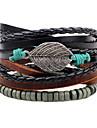 Men\'s Leather Bracelet Strand Bracelet Handmade Fashion Adjustable Personalized DIY Leather Wood Alloy Circle Leaf Jewelry For Daily