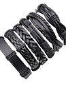 Men\'s Layered Braided Leather Bracelet - Leather Punk, Rock Bracelet Black For Stage Going out