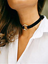 Mulheres Gargantilhas Joias Forma Geometrica Cobre Tecido Moda Personalizado Euramerican Preto Bege Marron Vermelho Joias ParaDiario