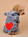 Собака Комбинезоны Одежда для собак Плюшевая ткань Весна/осень Зима На каждый день Мультфильмы Серый Хаки Для домашних животных