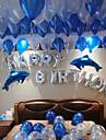 """100 latex lufi és """"boldog születésnapot"""" ábécé pár kék delfinek alumínium film léggömbök és 100 lufi ragasztó pont pont születésnapi ballon dekorációhoz"""