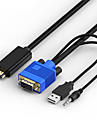 HDMI 2.0 Adapterkabel, HDMI 2.0 to VGA 3,5 mm Audio Jack USB 2.0 Adapterkabel Male - Male 1080P Vergoldetes Kupfer 1.5M (5Ft)