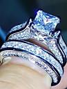 Γυναικεία Διαμάντι Cubic Zirconia Πασιέντζα Band Ring Eternity Ring Χαλκός κυρίες Καθημερινό Μοντέρνα Κομψό Μοδάτο Δαχτυλίδι Κοσμήματα Ασημί Για Γάμου Δώρο Μασκάρεμα Πάρτι Αρραβώνων Χοροεσπερίδα 5