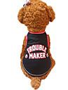 개 조끼 레드 블랙 강아지 의류 여름 문자와 숫자 패션