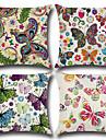 4.0 pcs Coton/Lin Housse de coussin, Fleur Motif Animal Style Boheme