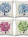4.0 pcs Coton/Lin Housse de coussin, Fleur arbres/Feuilles Style Boheme